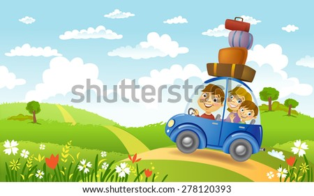Family traveling in the car, vector illustration - stock vector