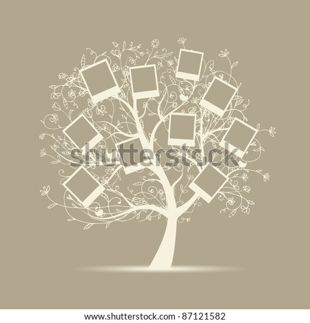 Family tree design, insert your photos into frames - stock vector