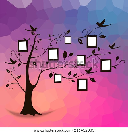 Family tree design, insert your photos into frames Tree and photos  - stock vector
