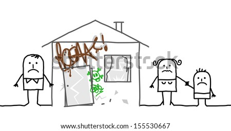 family & unsafe home - stock vector