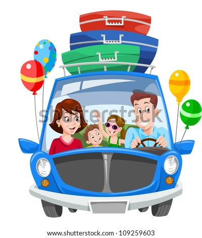 Family Vacation, Car with Luggage and Balloons, vector illustration - stock vector