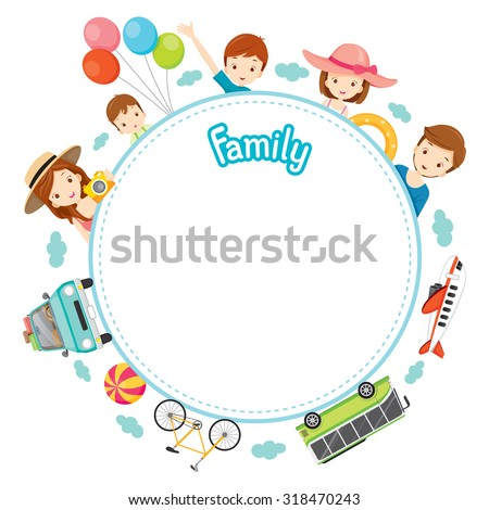 Family Vacation Objects on Round Frame, Vacations, Holiday, Travel Destination, Journey Trips, Transportation - stock vector