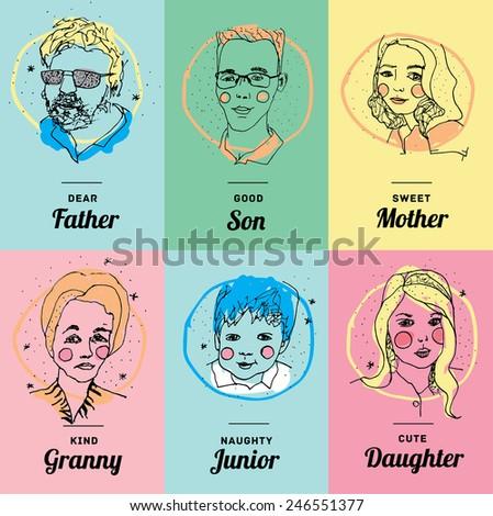 family vector faces - stock vector