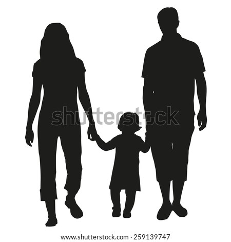 Family vector silhouette - stock vector