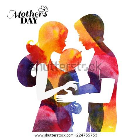 Family. Watercolor mother silhouette with her baby and husband. Card of Happy Mothers Day. Vector illustration with beautiful woman, man and child - stock vector