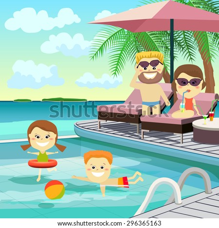 Family weekend. The family on holiday around the pool. Vector Illustration. - stock vector