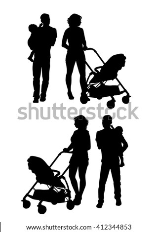 Family with baby and pram on a walk. Man, woman and child. Silhouettes on a white background. - stock vector
