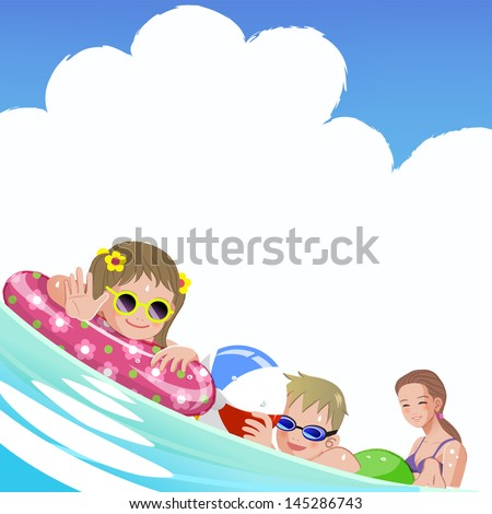 Family with children at sea on summer holiday.File contains Gradients, Gradient Mesh, Envelope Distort. - stock vector