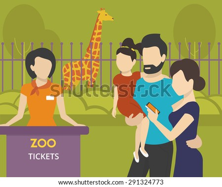 Family with children is going to the zoo using an e-ticket in mobile app - stock vector