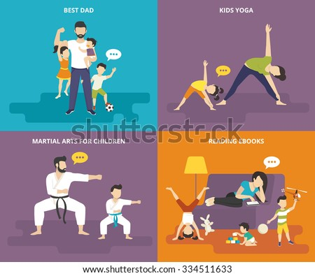 Family with children people concept flat icons set of best dad, mom doing yoga with kid, father with son doing martial arts exercise and tired babysitter reading ebook on the sofa with playful kids - stock vector
