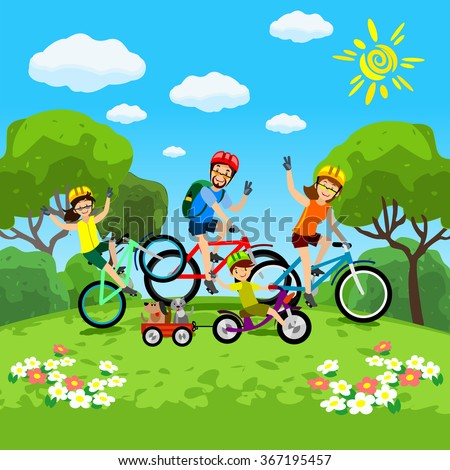 Family with kids concept of cycling in the park. Happy family riding bikes. The family in the park on bicycles - stock vector