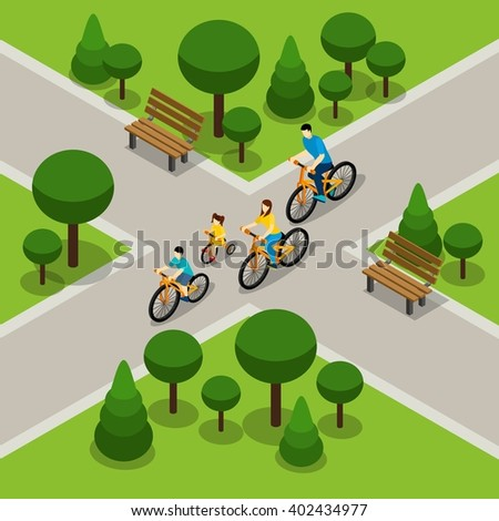 Family with two children cycling in city park isometric banner on healthy active lifestyle abstract vector illustration - stock vector