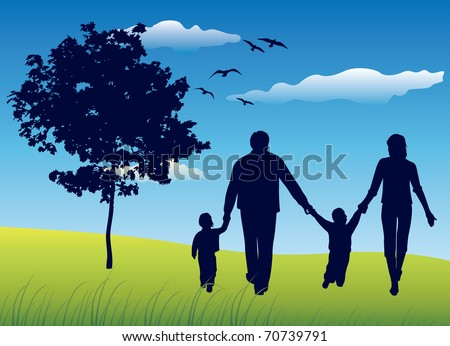 family with two children walking on summer field near tree, blue sky - stock vector