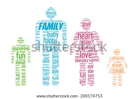 Family Word Cloud concept in vector on white background - stock vector