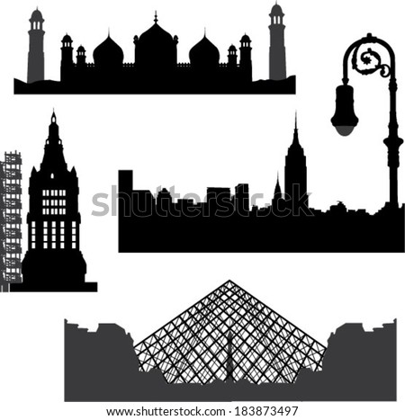 Famous building set - stock vector