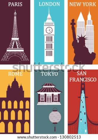 Famous cities. Vector - stock vector