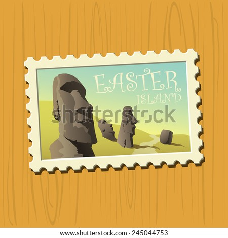 Famous destination stamps - Easter Island - stock vector