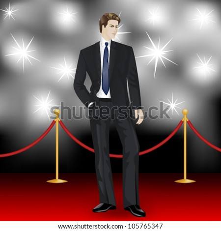 famous  elegant man in suit posing in front of the paparazzi on the red carpet - stock vector