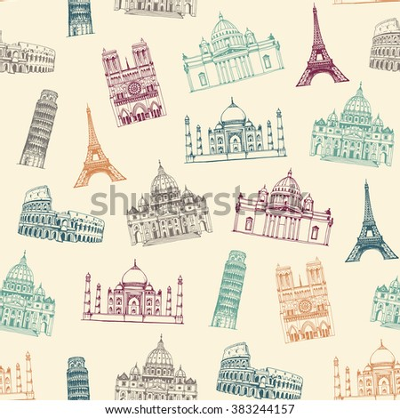 Famous landmarks of world pattern, seamless background with tourist attractions, travel endless pattern - stock vector