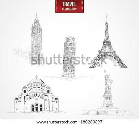 Famous Monument - Travel Destinations Set  - stock vector