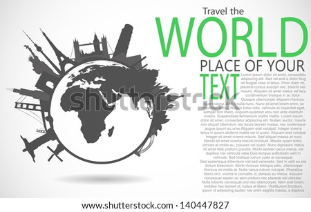 Famous monuments around world - stock vector