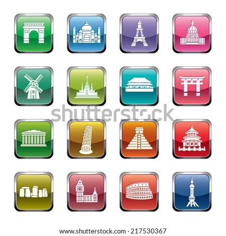 Famous Scenic Spots Icons - stock vector