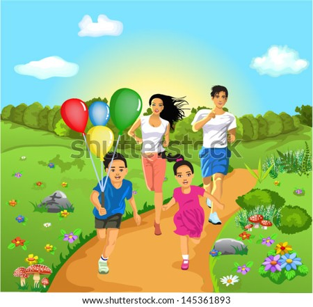 famyly of four running together - stock vector