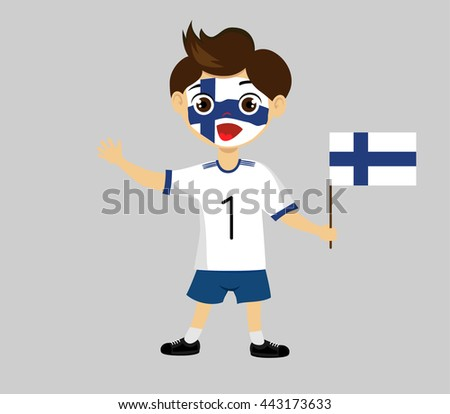 Fan of Finland  national football team, sports. Boy with flag in the colors of the national command with sports paraphernalia. - stock vector