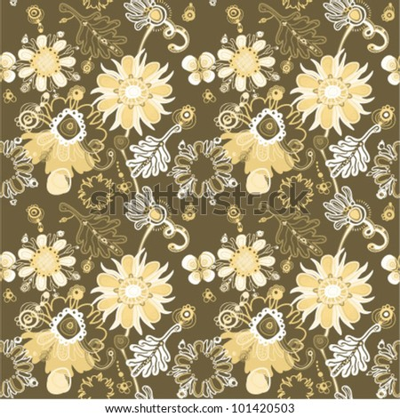 Fanciful seamless floral pattern. (vector) - stock vector