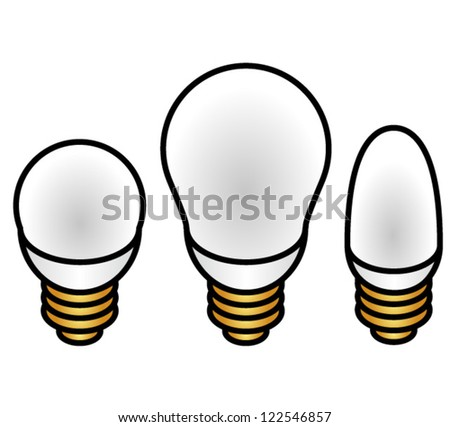 Fancy compact fluorescent energy saver light bulbs in three different sizes/brightness. - stock vector
