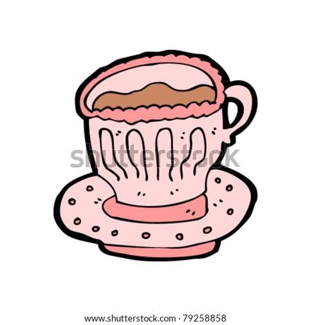 fancy cup of tea cartoon - stock vector