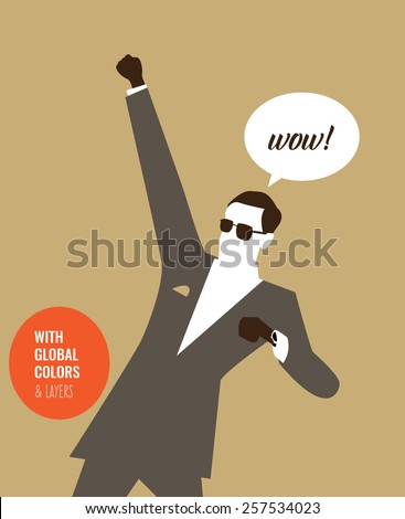 Fancy man saying wow. Vector illustration Eps10 file. Global colors & layers. - stock vector