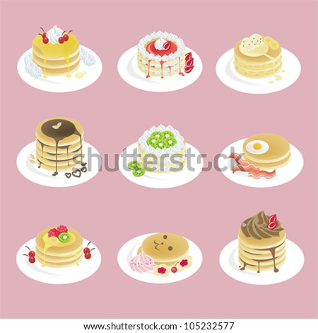 Fancy pancakes  with 9 different look, design by vector - stock vector