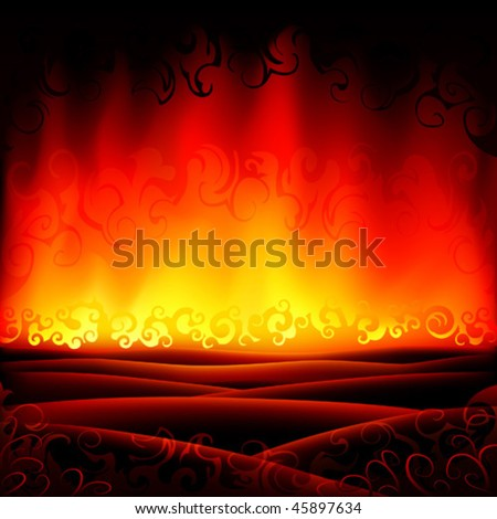 Fantastic burning hell scenery - stock vector
