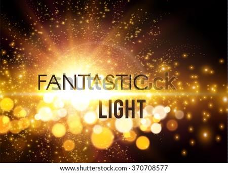 Fantastic Light. Shining Explosion Background with Light & Bokeh. Vector illustration - stock vector