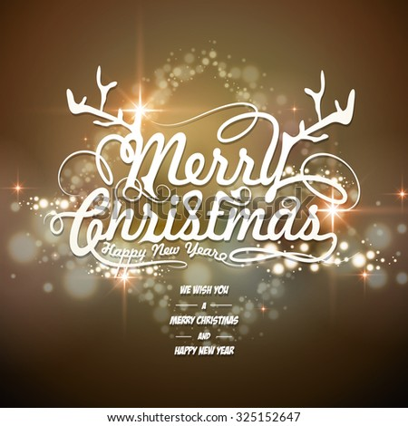 fantastic Merry Christmas card design with blurred background - stock vector