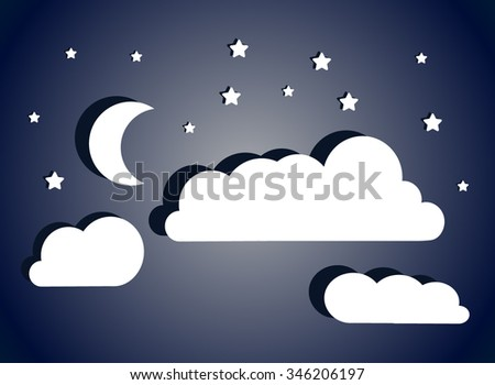 Fantastic night sky with moon, stars and clouds. Vector cloudscape. - stock vector