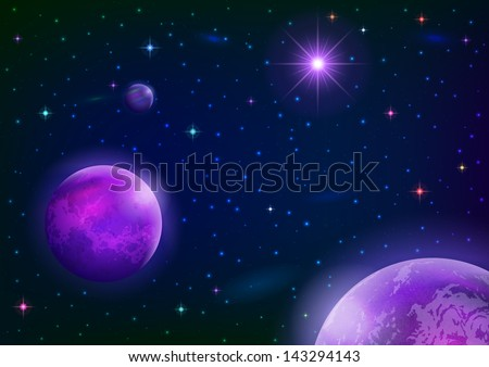 Fantastic space background with three violet planets, sun and stars. Elements of this image furnished by NASA. Vector eps10, contains transparencies - stock vector