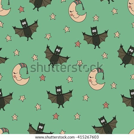 Fantastic unusual seamless halloween pattern with bats, moons and stars. Can be used for wallpaper, greeting cards, webpage backgrounds, wrapping paper or fabric.  - stock vector