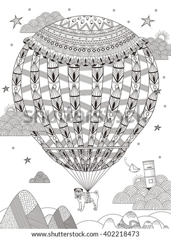 fantasy adult coloring page - pug floats on the starry night by hot air balloon  - stock vector