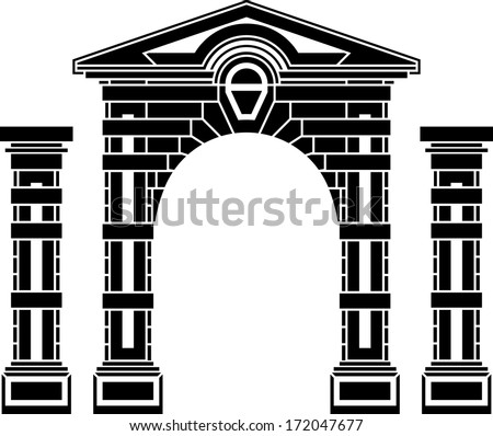 fantasy arch and columns. stencil. eighth. vector illustration - stock vector