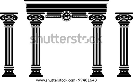 fantasy arch and columns. stencil. sixth variant. vector illustration - stock vector