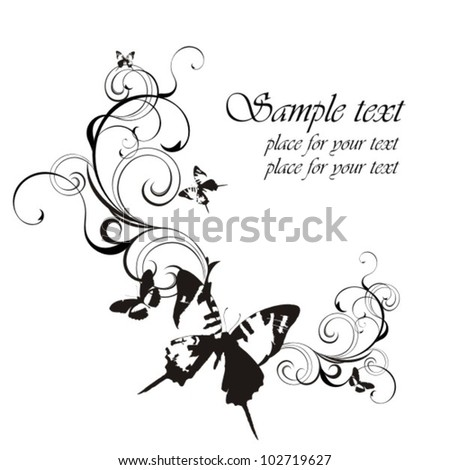 Fantasy background with butterfly - stock vector