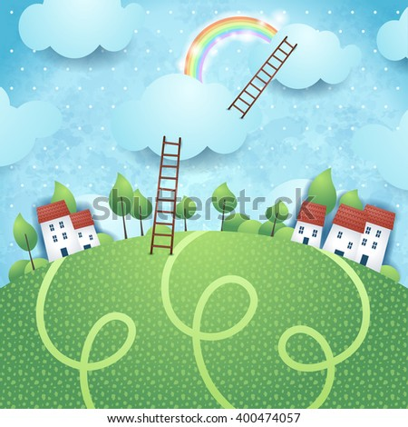 Fantasy background with village and ladders, vector illustration  - stock vector