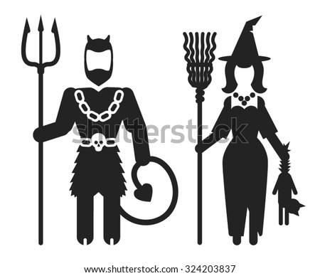 fantasy contour vector icons of restrooms man and woman for theme halloween parties, witch and devil WC on white background - stock vector