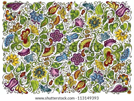 fantasy decorative floral background - stock vector