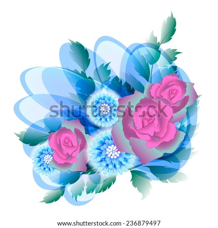 fantasy design of a bouquet with three roses   - stock vector