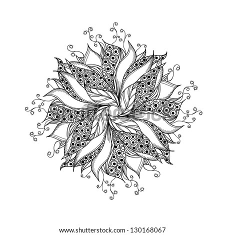 Fantasy flower, black and white tattoo pattern. - stock vector