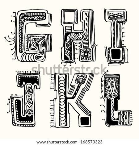 Fantasy hand drawn font. Vector letters set G-L - stock vector