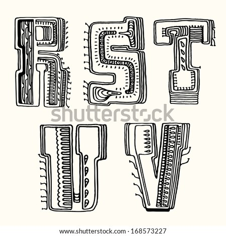 Fantasy hand drawn font. Vector letters set R-V - stock vector